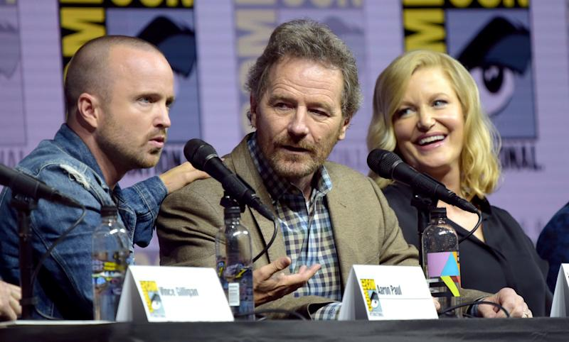 Aaron Paul, from left, Bryan Cranston and Anna Gunn attend the Breaking Bad 10th Anniversary panel - Invision