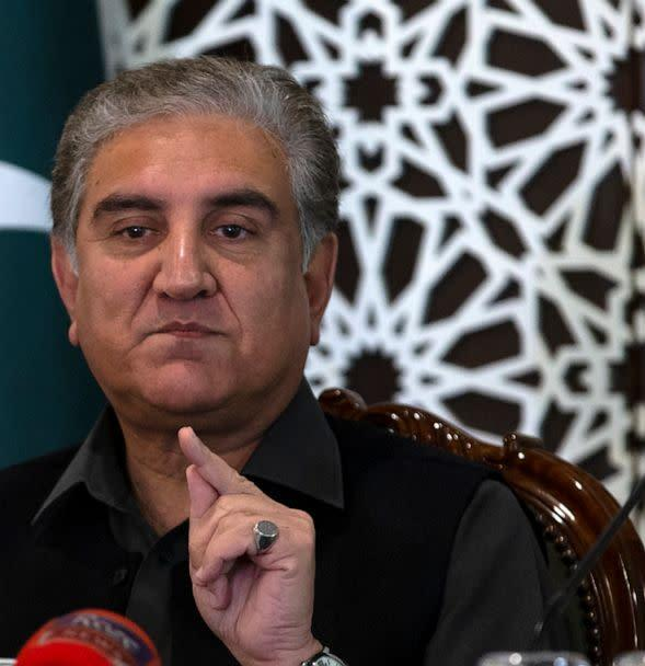 PHOTO: Pakistani Foreign Minister Shah Mahmood Qureshi speaks to reporters at the Foreign Ministry in Islamabad, Pakistan, March 1, 2020. (B.k. Bangash/AP, FILE)