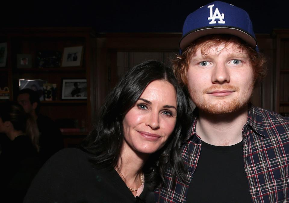 Are Courteney Cox and Ed Sheeran working on music together? (Getty)