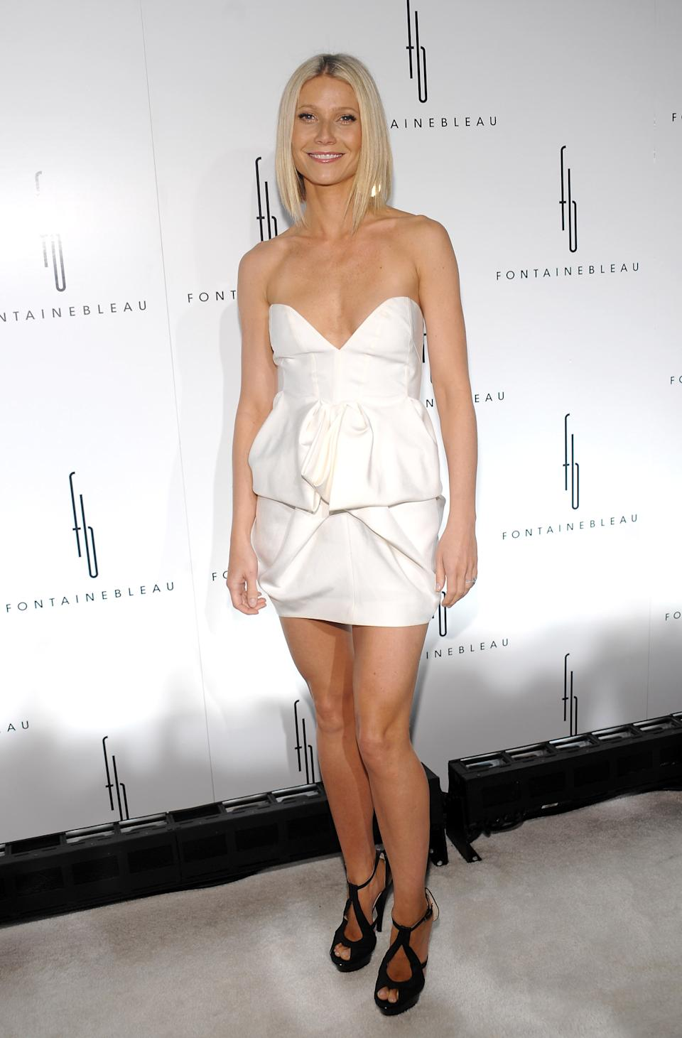 Actress Gwyneth Paltrow attends the Fontainebleau Miami Beach Hotel grand opening party on Friday, Nov. 14, 2008 in Miami Beach, Fla. (AP Photo/Evan Agostini)