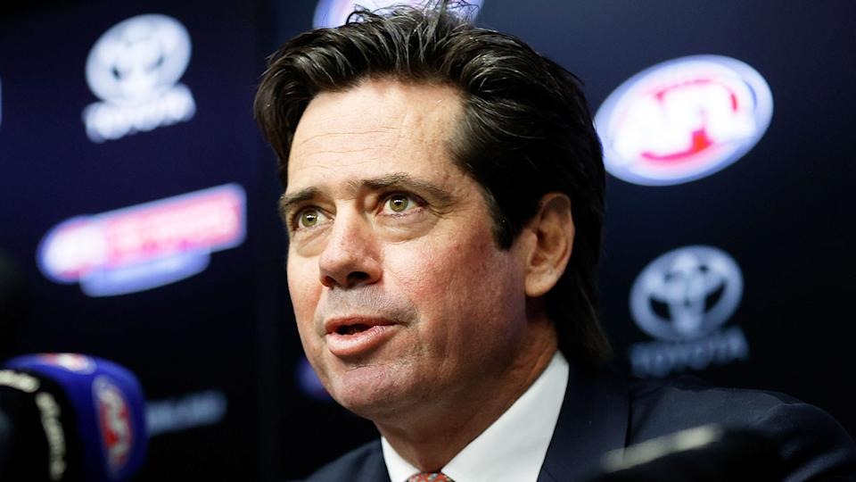 AFL CEO Gillon McLachlan is pictured here speaking at a press conference.
