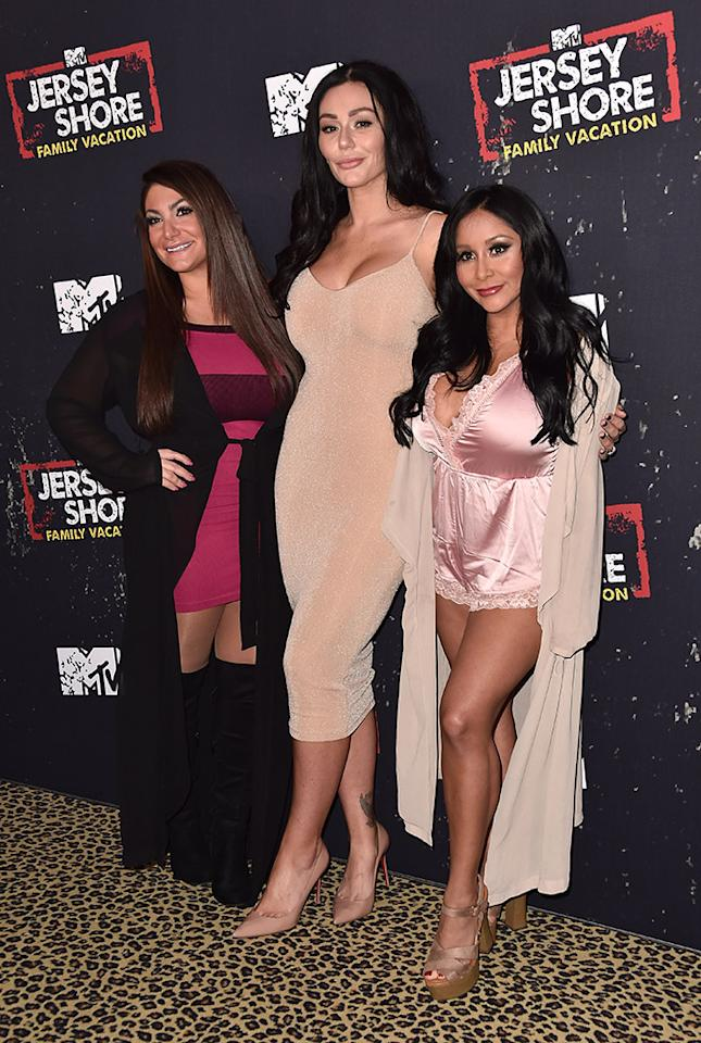 <p>Party's here! The fist-pumping ladies looked quite glam at the premiere of MTV's <em>Jersey Shore: Family Vacation</em> at HYDE Sunset: Kitchen + Cocktails in West Hollywood, Calif., on Thursday night. (Photo: Alberto E. Rodriguez/Getty Images) </p>