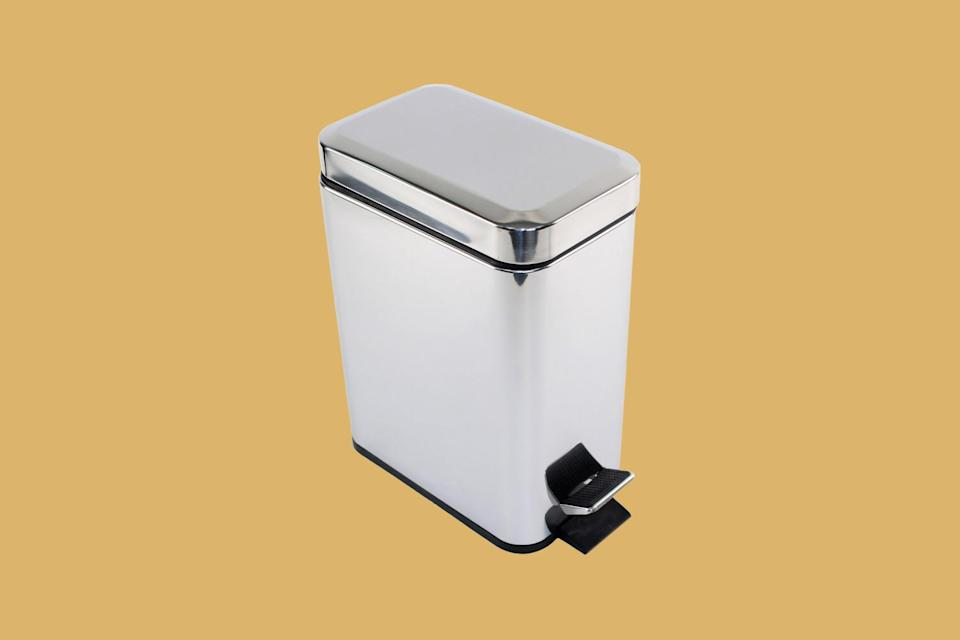 """<p>The only thing better than an <a href=""""https://www.marthastewart.com/7841803/replace-trash-can-tips"""" rel=""""nofollow noopener"""" target=""""_blank"""" data-ylk=""""slk:attractive kitchen trash"""" class=""""link rapid-noclick-resp"""">attractive kitchen trash</a> can is one that makes cleaning up a breeze. """"This particular can meets all the requirements I would look for,"""" explains Jennifer Truesdale of <a href=""""https://www.str8nup.org/"""" rel=""""nofollow noopener"""" target=""""_blank"""" data-ylk=""""slk:STR8N UP"""" class=""""link rapid-noclick-resp"""">STR8N UP</a> Professional Organizing Services of this polished option, which was designed to be rectangular for maximum trash volume. """"It also has an inside removable can with a handle to help pull bags and maintain cleanliness."""" Best of all, the side pedal prevents the can from getting in the way—so it's great for a highly trafficked area, like the kitchen.</p> <p><strong><em>Shop Now: </em></strong><em>Gedy Argenta Collection </em><em>Rectangular Polished Chrome Waste Bin with Pedal, $62, </em><a href=""""https://www.thebathoutlet.com/waste-basket-rectangular-polished-chrome-waste-bin-with-pedal-gedy-2909-13/product/4364"""" rel=""""nofollow noopener"""" target=""""_blank"""" data-ylk=""""slk:thebathoutlet.com"""" class=""""link rapid-noclick-resp""""><em>thebathoutlet.com</em></a><em>. </em></p>"""