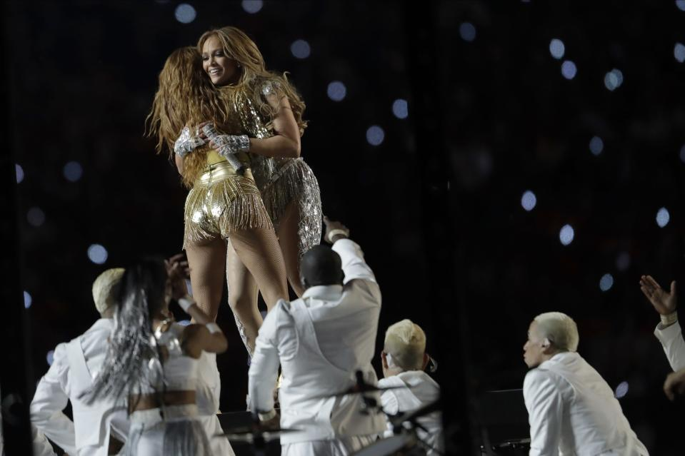 Shakira, left, and Jennifer Lopez perform during halftime of the NFL Super Bowl 54 football game between the San Francisco 49ers and the Kansas City Chiefs Sunday, Feb. 2, 2020, in Miami Gardens, Fla. (AP Photo/John Bazemore)