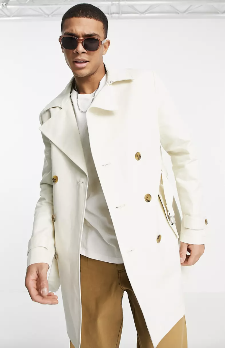 PHOTO: ASOS. ASOS DESIGN shower resistant double breasted trench coat