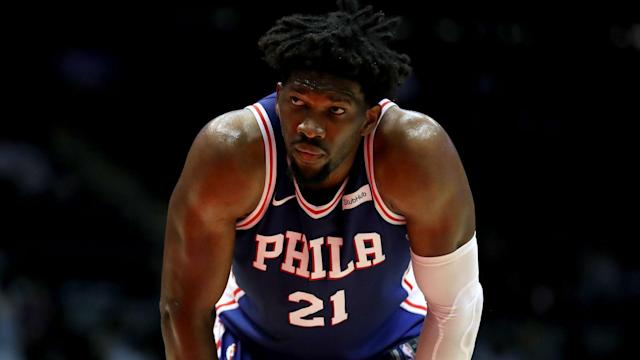 """<a class=""""link rapid-noclick-resp"""" href=""""/nba/players/5294/"""" data-ylk=""""slk:Joel Embiid"""">Joel Embiid</a> had a message for Rihanna on national TV after being named an All-Star. (Getty)"""