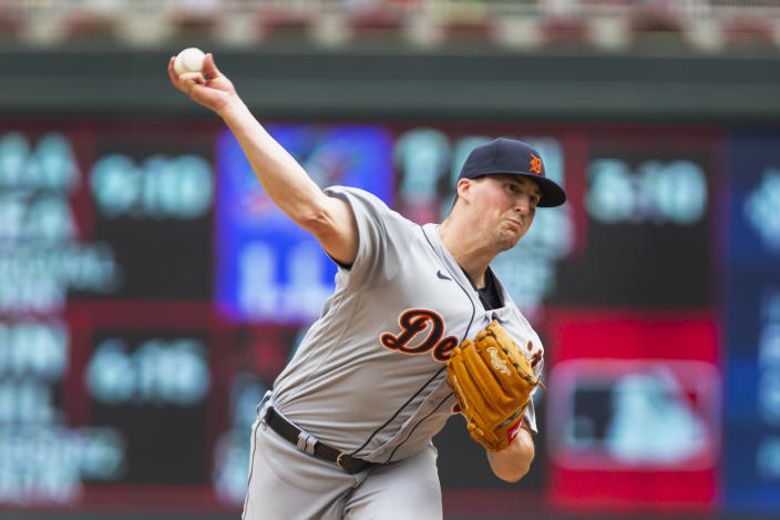 Detroit Tigers relief pitcher Kyle Funkhouser throws to the Minnesota Twins in the first inning of a baseball game, Saturday, July 10, 2021, in Minneapolis. (AP Photo/Andy Clayton-King)