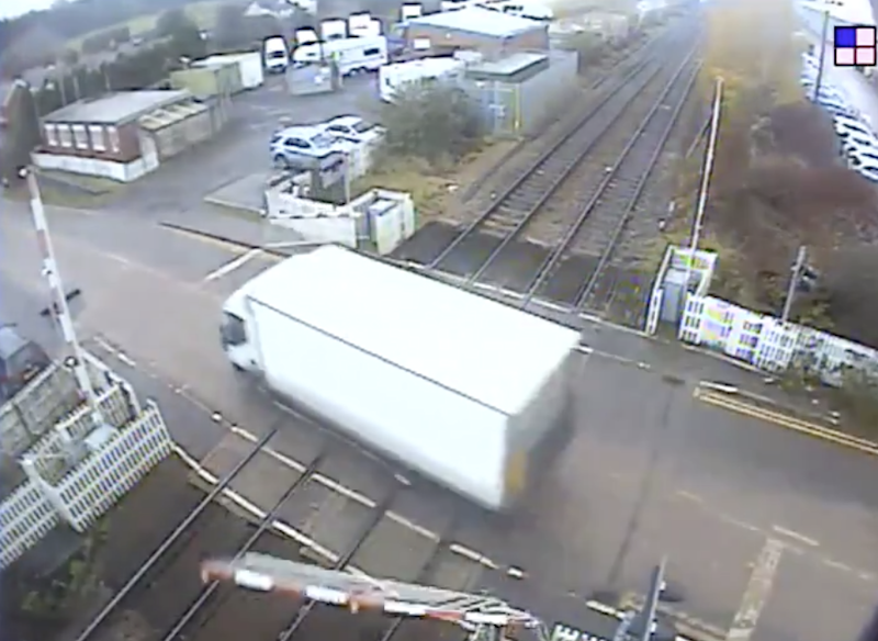 Danger zone: the truck crashed through the level crossing barrier: Network Rail