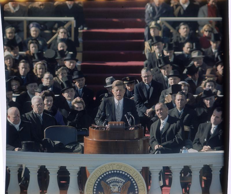 Former President John F. Kennedy delivering his inaugural speech. (George Silk via Getty Images)