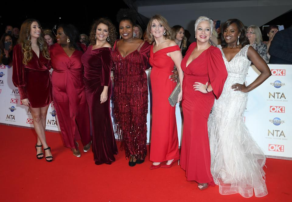 LONDON, ENGLAND - JANUARY 28: Stacey Solomon, Alison Hammond, Nadia Sawalha, Brenda Edwards, Kaye Adams, Denise Welch and Kelle Bryan attend the National Television Awards 2020 at The O2 Arena on January 28, 2020 in London, England. (Photo by Gareth Cattermole/Getty Images)