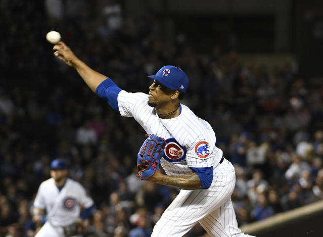 Chicago Cubs relief pitcher Pedro Strop (46) throws the ball against the Milwaukee Brewers during the ninth inning of a baseball game, Tuesday, Sept. 11, 2018, in Chicago. The Cubs won 3-0. (AP Photo/David Banks)