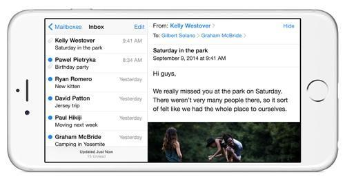 iPhone Mail program in landscape view