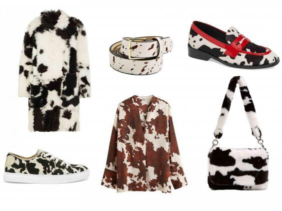 (L-R) Petar Petrov Shearling Coat, £1,150, Net-a-Porter; Cow Print Sweetheart Sneakers, £179, Young British Designers; Cow belt, £16, Topshop; Cow Print Blouse, £59.99, Mango; Jeffrey Campbell Hornsby Loafer, £129.08, Nordstrom; Teddy Faux Fur Cow Shoulder Bag, £27, Topshop