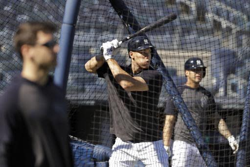New York Yankees' Aaron Judge takes batting practice at Yankee Stadium Thursday, Oct. 10, 2019, New York. The Yankees will play the winner of tonight's Tampa Bay Rays at Houston Astros American League Division Series game in Game 1 of the American League Championship Series on Saturday, Oct. 12 in New York. (AP Photo/Frank Franklin II)