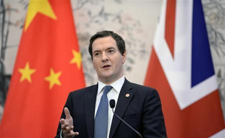 Britain's Chancellor of the Exchequer George Osborne talks during a press briefing at the Diaoyutai Guesthouse in Beijing
