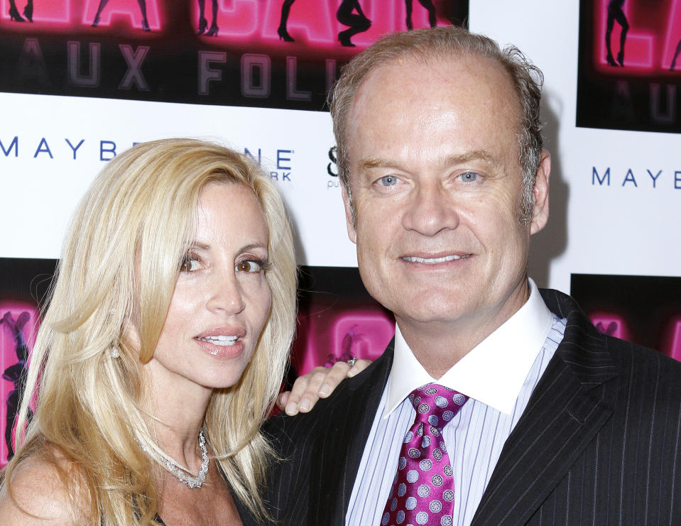 """NEW YORK - APRIL 18: Camille Grammer and Kelsey Grammer attends the opening of """"La Cage Aux Folles"""" on Broadway at the Providence on April 18, 2010 in New York City. (Photo by Donna Ward/WireImage)"""