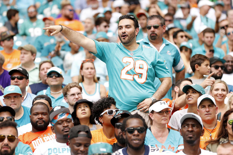 MIAMI, FLORIDA - SEPTEMBER 08: A Miami Dolphins fan reacts against the Baltimore Ravens at Hard Rock Stadium on September 08, 2019 in Miami, Florida. (Photo by Michael Reaves/Getty Images)