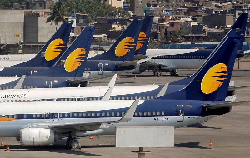 FILE PHOTO: Jet Airways aircraft are seen parked at the Chhatrapati Shivaji Maharaj International Airport in Mumbai