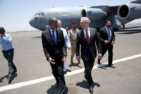 U.S. Defense Secretary James Mattis is greeted by Djibouti's Minister of Defense Ali Hasan Bahdon as he arrives at Djibouti-Ambouli International Airport in Ambouli, Djibouti April 23, 2017. REUTERS/Jonathan Ernst