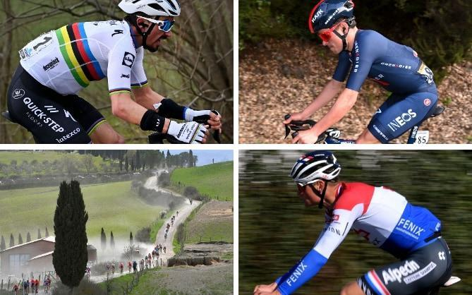 Julian Alaphilippe (left to right, clockwise), Tom Pidcock and Mathieu van der Poel —Strade Bianche 2021: When is it, which teams are racing, what TV channel is showing it and who are the favourites? - GETTY IMAGES