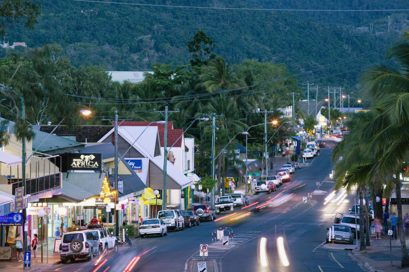 Traffic on Shute Harbour Road in the evening at Queensland's Airlie Beach.