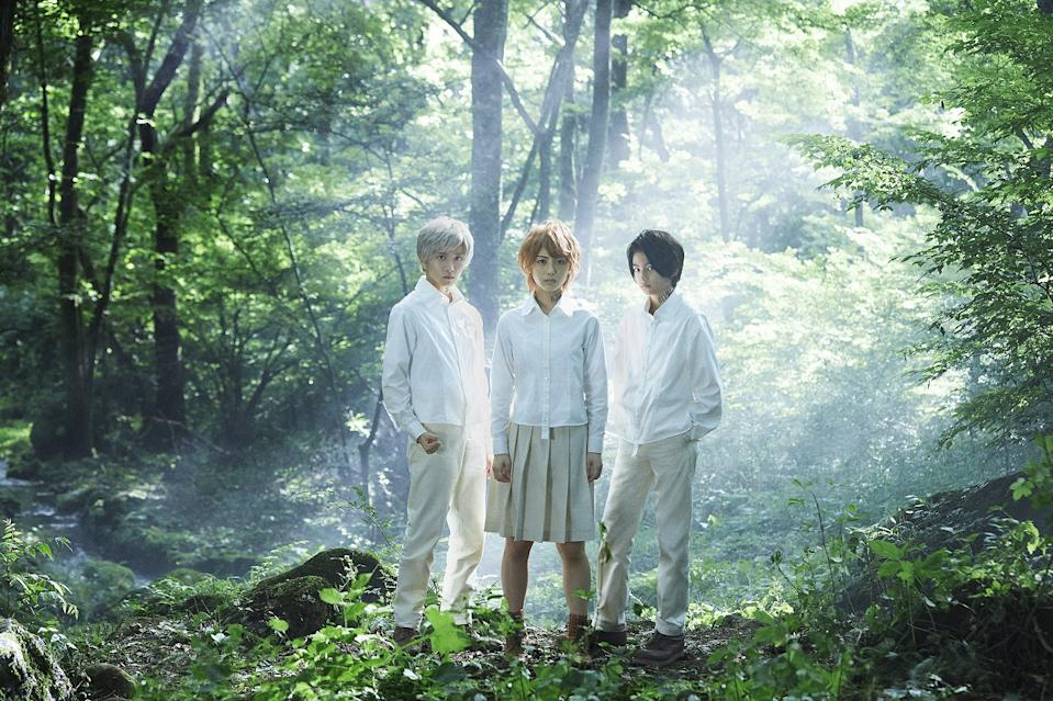 Minami Hanabe, Rihito Itagaki, and Kairi Jyo in The Promised Neverland. (Photo: Encore Films)