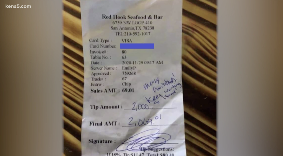 The customer's receipt left for waitress Emily Bauer at Red Hook Seafood Bar.  Source: KENS5