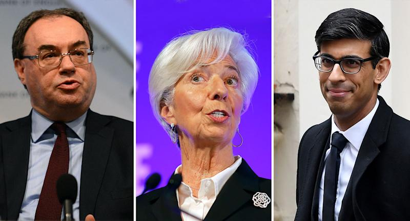 From left: Incoming Bank of England Governor Andrew Bailey, European Central Bank head Christine Lagarde, and UK Chancellor Rishi Sunak. (Kirsty O'Connor - WPA Pool/Tolga Akmen - WPA Pool/Chris J Ratcliffe/Getty Images)