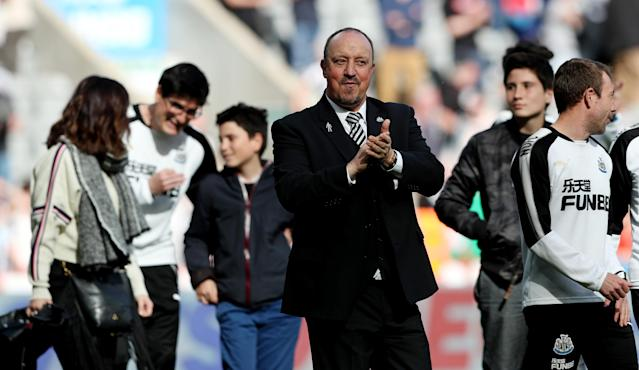 "Soccer Football - Premier League - Newcastle United vs Chelsea - St James' Park, Newcastle, Britain - May 13, 2018 Newcastle United manager Rafael Benitez applauds fans after the match REUTERS/Scott Heppell EDITORIAL USE ONLY. No use with unauthorized audio, video, data, fixture lists, club/league logos or ""live"" services. Online in-match use limited to 75 images, no video emulation. No use in betting, games or single club/league/player publications. Please contact your account representative for further details."