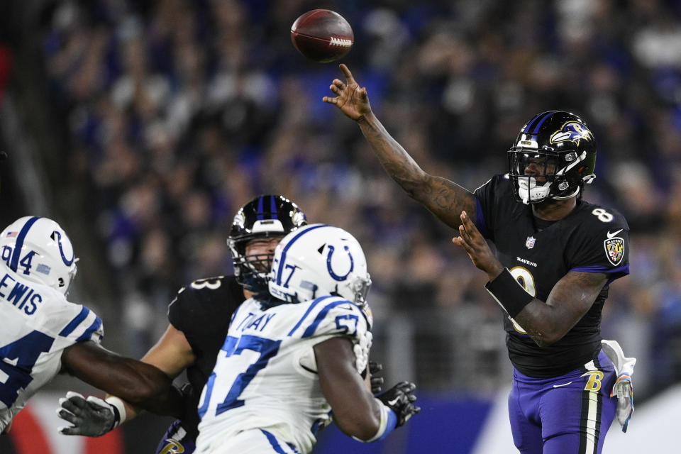 Baltimore Ravens quarterback Lamar Jackson (8) throws the ball during the second half of an NFL football game against the Indianapolis Colts, Monday, Oct. 11, 2021, in Baltimore. (AP Photo/Nick Wass)