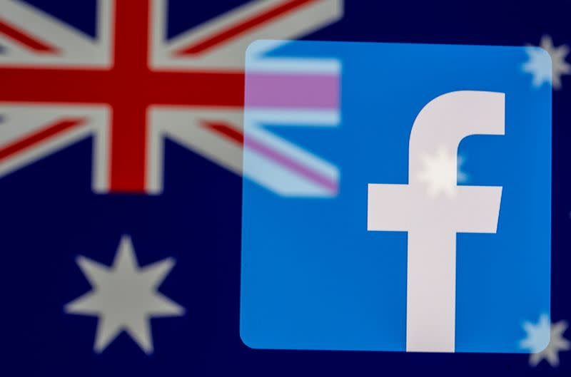 Facebook logo and Australian flag are displayed in this illustration taken