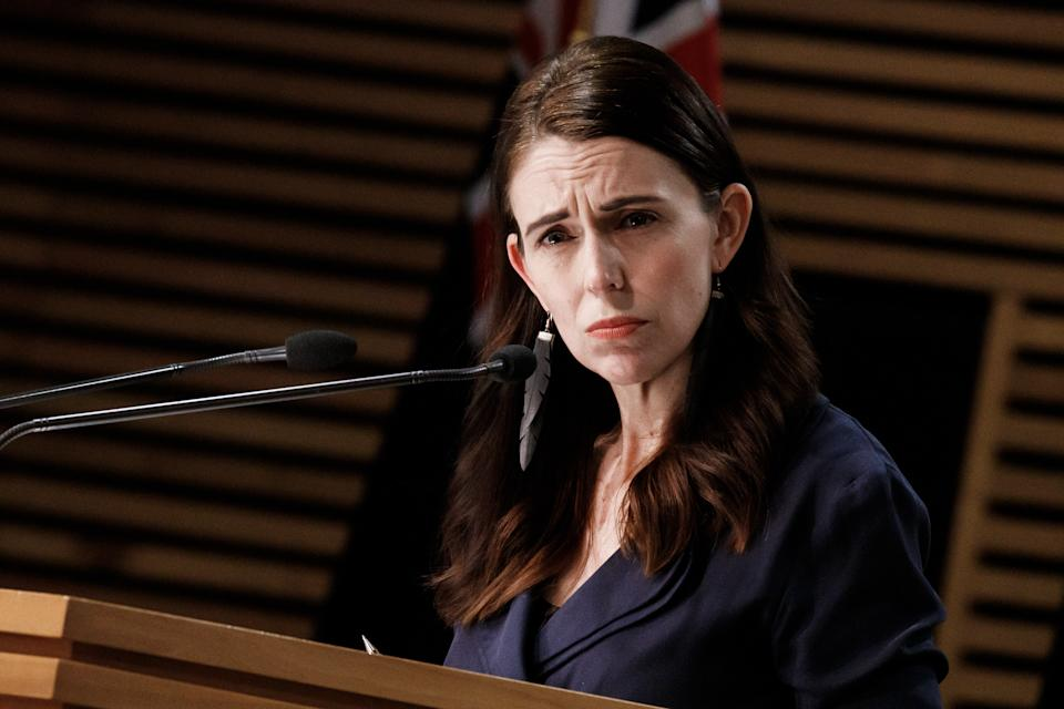 Jacinda Ardern is pictured during an August 21 Covid press conference.