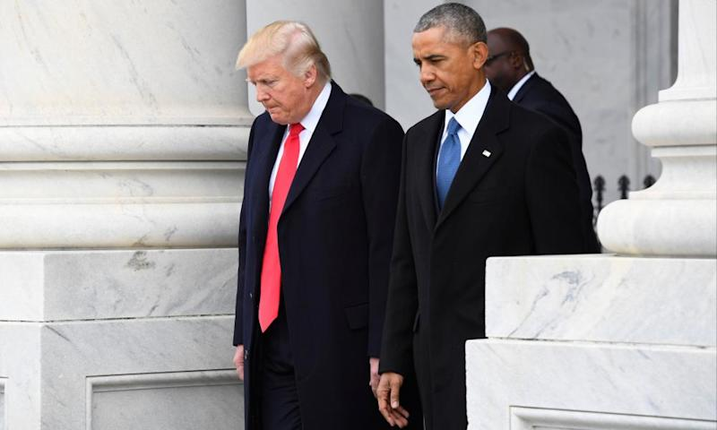 Donald Trump and Barack Obama walk out of the East front of the Capitol, prior to Obama's departure from the 2017 presidential inauguration.