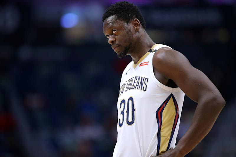 NEW ORLEANS, LOUISIANA - MARCH 26: Julius Randle #30 of the New Orleans Pelicans reacts during a game against the Atlanta Hawks at the Smoothie King Center on March 26, 2019 in New Orleans, Louisiana. NOTE TO USER: User expressly acknowledges and agrees that, by downloading and or using this photograph, User is consenting to the terms and conditions of the Getty Images License Agreement. (Photo by Jonathan Bachman/Getty Images)