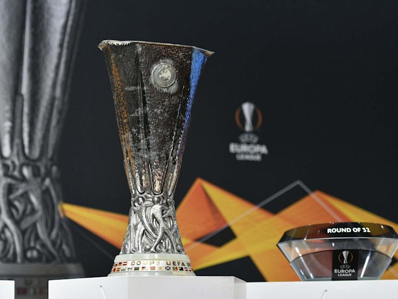 The UEFA Europa League football cup trophy: AFP via Getty Images