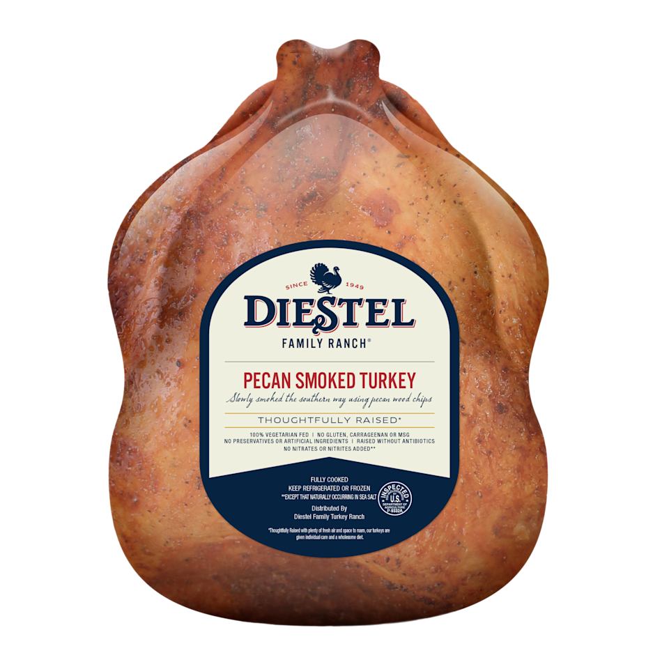 """<p>diestelturkey.com</p><p><strong>$107.95</strong></p><p><a href=""""https://diestelturkey.com/products/naturally-pecan-smoked-whole-turkey/"""" rel=""""nofollow noopener"""" target=""""_blank"""" data-ylk=""""slk:Shop Now"""" class=""""link rapid-noclick-resp"""">Shop Now</a></p><p>This delicious option is slow-smoked over pecan hardwoods </p>"""