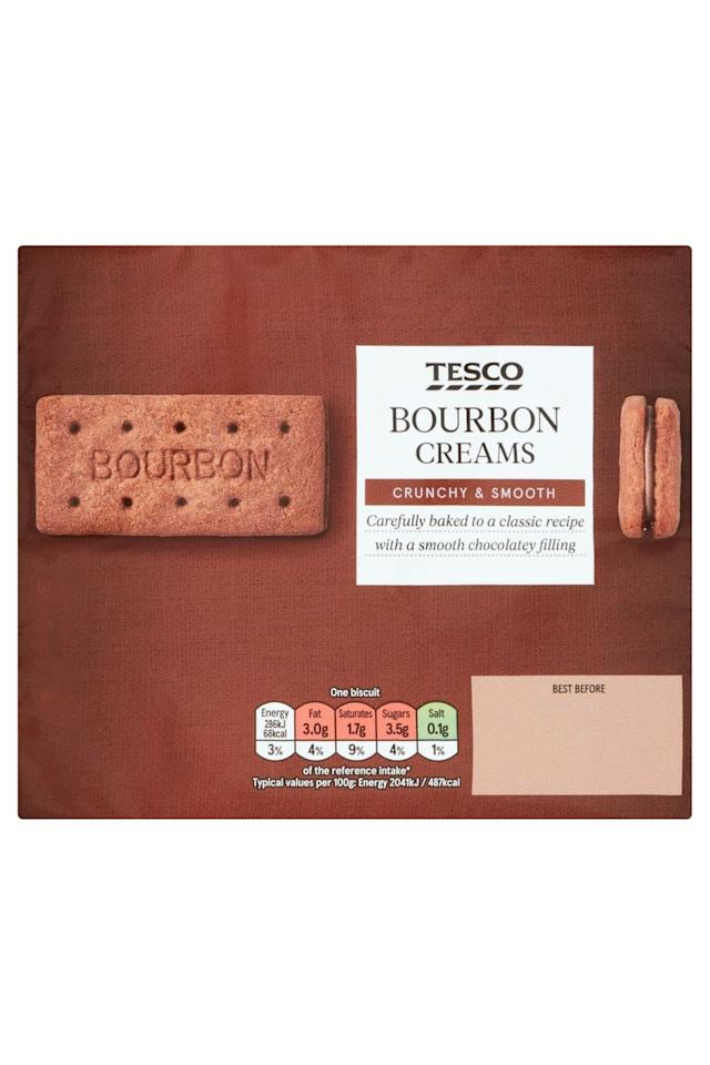 """<p><strong>Overall Score: 81/100</strong></p><p>A rich chocolate aroma and a milky sweetness, this biscuit reminded our testers of Coco Pops. </p><p>The biscuit has a delicious chocolate flavour that balances well against the sweet and creamy chocolate filling. </p><p>The biscuit has a pleasing snap against the smooth cream. </p><p><strong><a class=""""body-btn-link"""" href=""""https://go.redirectingat.com?id=127X1599956&url=https%3A%2F%2Fwww.tesco.com%2Fgroceries%2Fen-GB%2Fproducts%2F290329100&sref=https%3A%2F%2Fwww.goodhousekeeping.com%2Fuk%2Ffood%2Ffood-reviews%2Fg32995551%2Fbest-bourbon-biscuits%2F"""" target=""""_blank"""">BUY NOW</a> Tesco, £0.45 for 296g</strong></p>"""