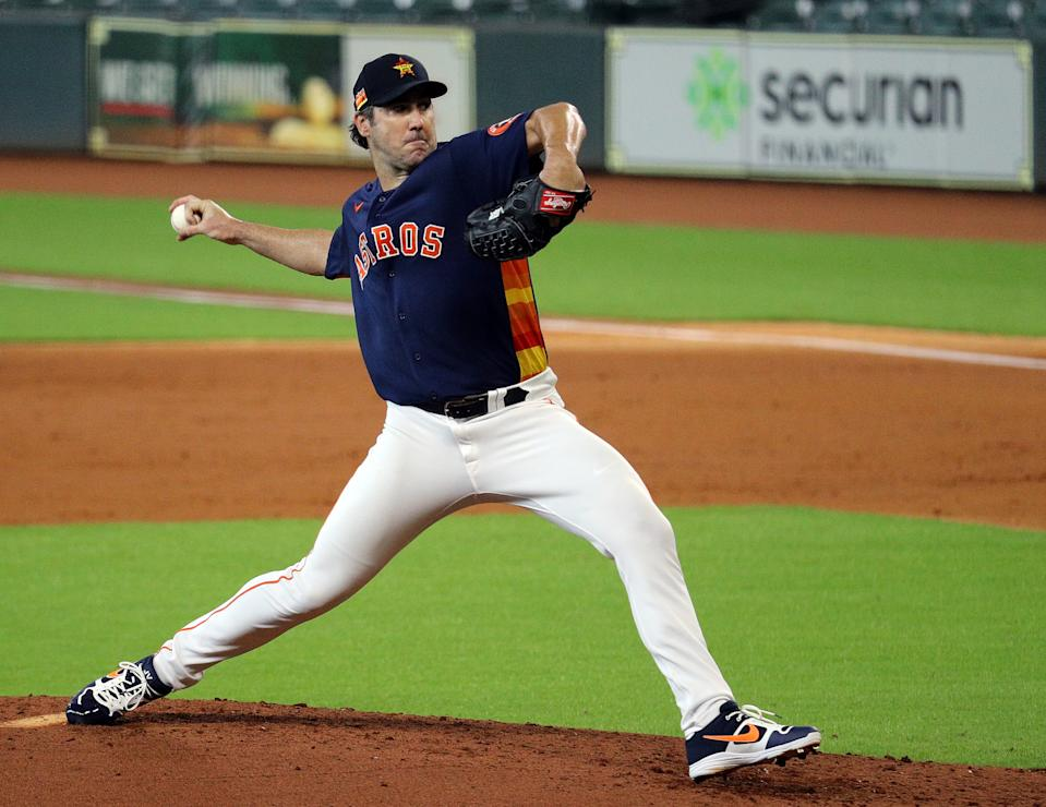 HOUSTON, TEXAS - JULY 19: Justin Verlander #35 of the Houston Astros pitches during an intrasquad game as they continue with Summer Workouts at Minute Maid Park on July 19, 2020 in Houston, Texas. (Photo by Bob Levey/Getty Images)