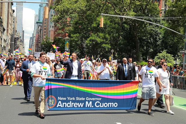 <p>New York Gov. Andrew Cuomo marches in the N.Y.C. Pride Parade in New York on June 25, 2017. (Photo: Gordon Donovan/Yahoo News) </p>