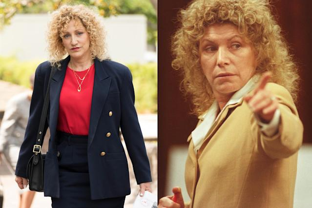 <p>The defense attorney who represented Lyle and Erik cut a striking figure at the trial, with her passionate speeches and flamboyant behavior. Emmy winner Falco looks picture perfect with that corkscrew curly blond wig.<br><br>(Photos: Justin Lubin/NBC, Ricardo De Aratanha/AP) </p>