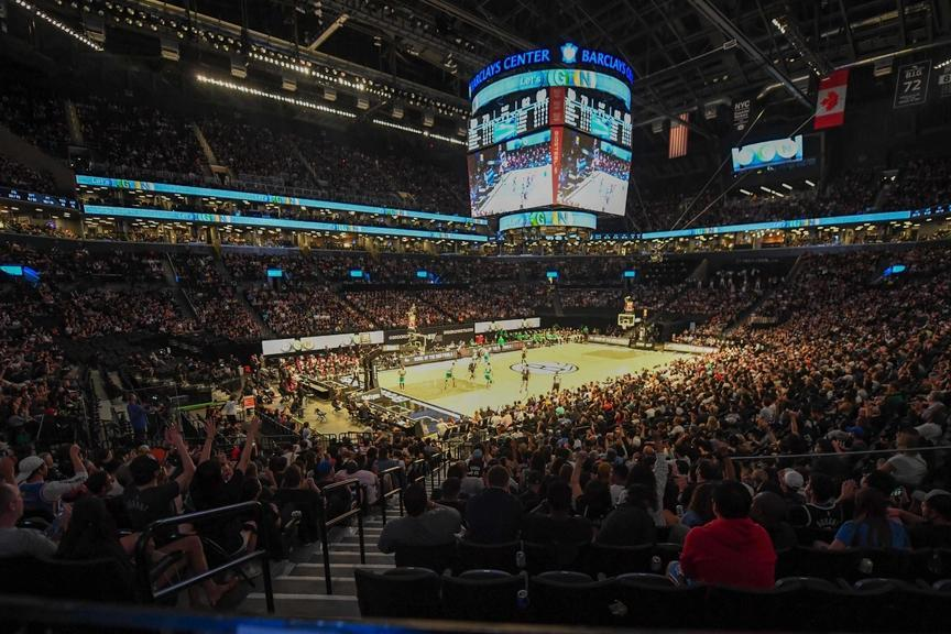 Crowd at Nets Celtics Game 1, lower bowl corner view with court in middle