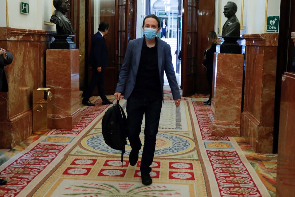 El vicepresidente segundo del Gobierno, Pablo Iglesias. (J.J. Guillen, Pool Photo via AP)