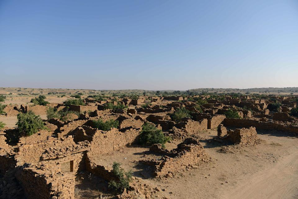 A general view of the abandoned village at Kuldhara, near Jaisalmer in the Indian state of Rajasthan, on December 4, 2015.  Villagers in Kuldhara fled in 1762 -- locals say the area is