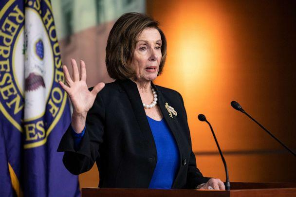 PHOTO: Speaker of the House Nancy Pelosi speaks during a press conference in Washington, Jan. 28, 2020. (Samuel Corum/Getty Images, FILE)