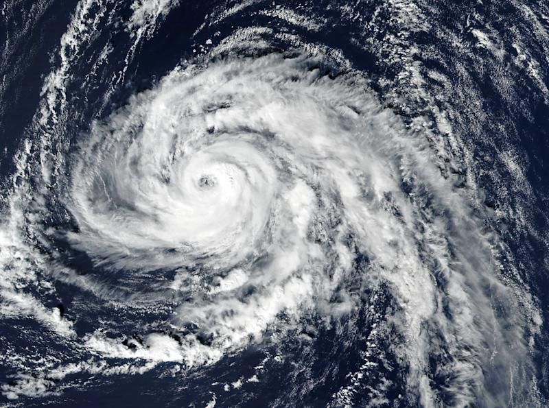 This handout satellite image released by NASA Earth Observatory shows hurricane Ophelia approaching the Azores (AFP Photo/Handout)