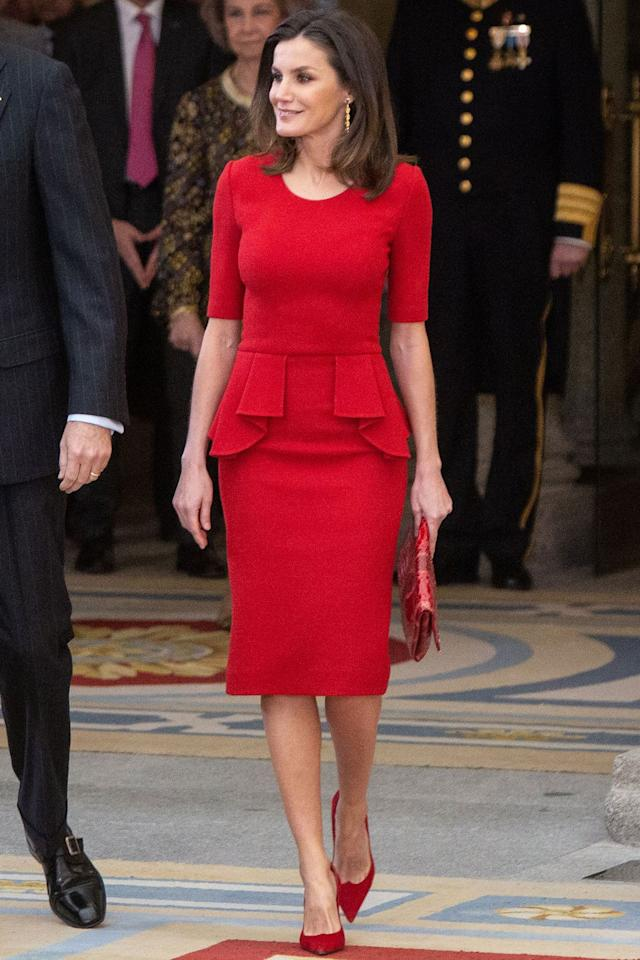 """<p><strong>10 January</strong> Queen Letizia worked <a rel=""""nofollow"""" href=""""https://www.harpersbazaar.com/uk/fashion/style-files/g36775/one-tone-dressing/"""">one-tone dressing</a> in a red peplum dress and matching scarlet accessories at the National Sports Awards in Madrid. </p><p><a rel=""""nofollow"""" href=""""https://www.harpersbazaar.com/uk/fashion/style-files/g36775/one-tone-dressing/"""">HOW TO DO ONE-TONE DRESSING</a></p>"""