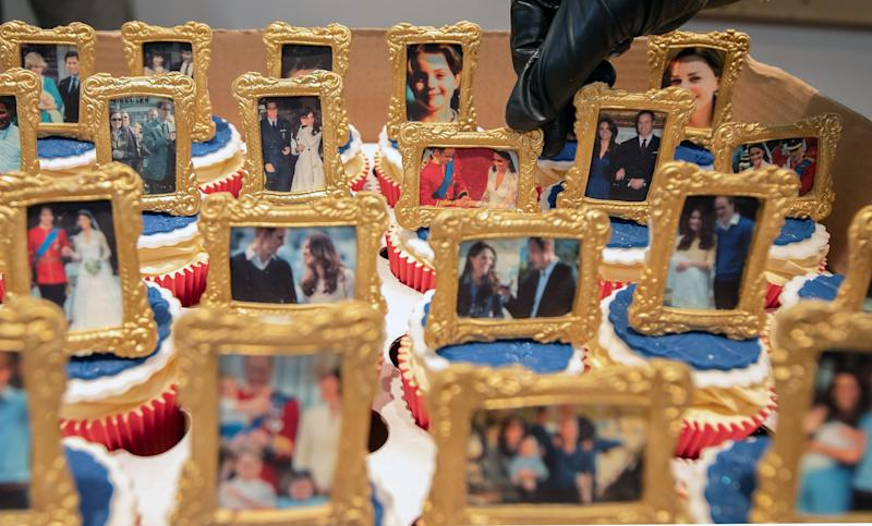 Cubcakes decorated with picture frames featuring images of Prince William, Duchess Kate and their children delighted the couple during their visit to Bradford in northern England on Jan. 15, 2020.
