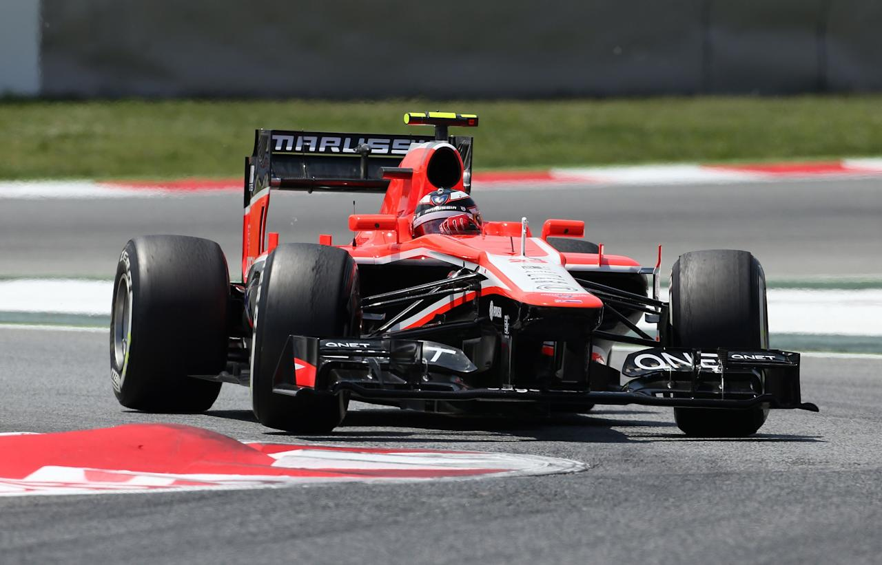 Marussia's Max Chilton during qualifying at the Circuit de Catalunya, Barcelona.