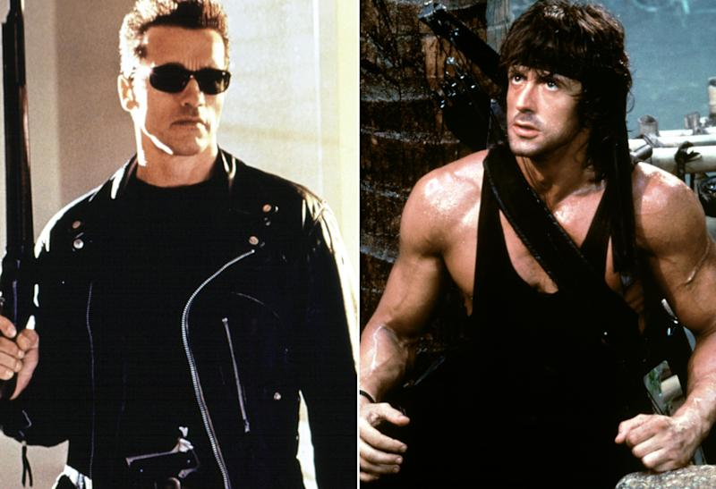 Arnold Schwarzenegger as the Terminator, Sylvester Stallone as Rambo