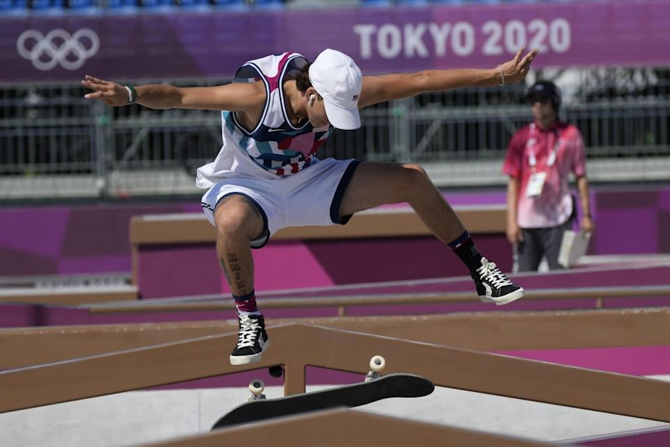 Jagger Eaton of the U.S. competes in the men's street skateboarding final Sunday.